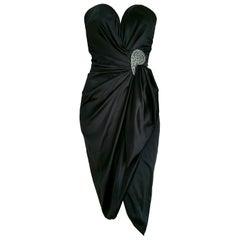 VALENTINO Haute Couture Swarovski Diamonds Drop in Front, Silk Gown- Unworn, New