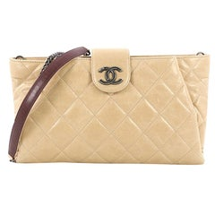 Chanel Duo Color Chain Clutch Quilted Glazed Calfskin