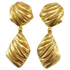 1980's Yves Saint Laurent Gold-Plated Ribbed Dangling Earrings