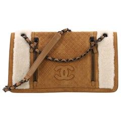 Chanel Double Zip CC Flap Bag Quilted Suede and Shearling Medium