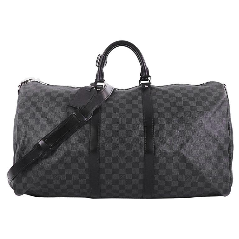 Louis Vuitton Keepall Bandouliere Bag Damier Graphite 55 For Sale