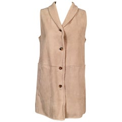 Loro Piana Light Weight Beige Shearling Vest Jacket Larger Size
