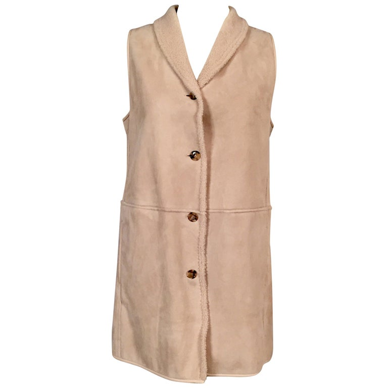 Loro Piana Light Weight Beige Shearling Vest Jacket Larger Size For Sale
