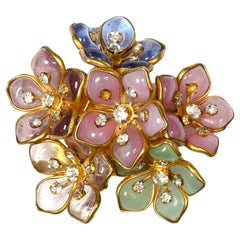 Chanel Vintage 80's Purple/Green/Blue/Clear Glass Goldtone Floral Brooch/Pin