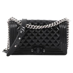 Chanel Boy Flap Bag Quilted Plexiglass Patent Old Medium