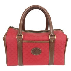 Gucci Red Monogram Vinyl and Leather Speedy Handbag 1980s