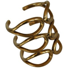 Goossens Paris Triple Row Gold Cuff Bracelet