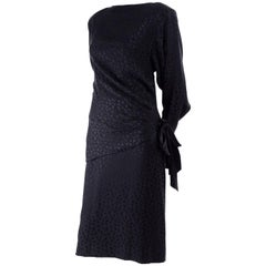 Adolfo Vintage Silk Tone on Tone Leopard Print Black Dress With Draping