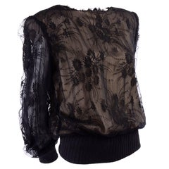 Vintage Valentino Black Lace Over Nude Silk Blouse