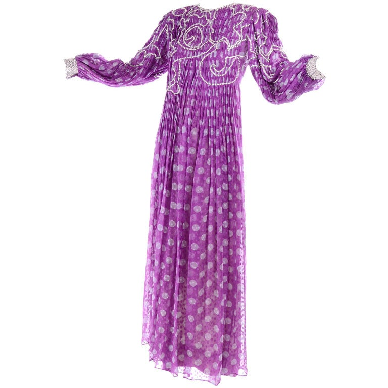 James Galanos Silk Purple Polka Dot Vintage Dress w Silver Sequins & Slip For Sale