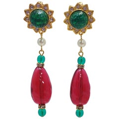 KJL Kenneth Jay Lane Emerald and Ruby Crystal Clip on Dangling Earrings Goldtone
