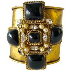 French Byzantine Pearl Diamanté Black Maltese Cross Statement Cuff Bracelet