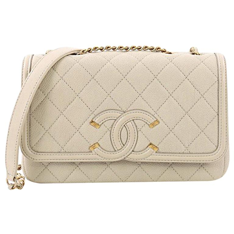 eed60f1af503 Chanel Filigree Flap Bag Quilted Caviar Small at 1stdibs