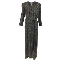 Racine Paris black and gold glitter Maxi dress with Tassel belt 1970s