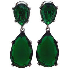 KJL Kenneth Jay Lane Emerald Teardrop Crystal Clip on Dangling Silver Earrings