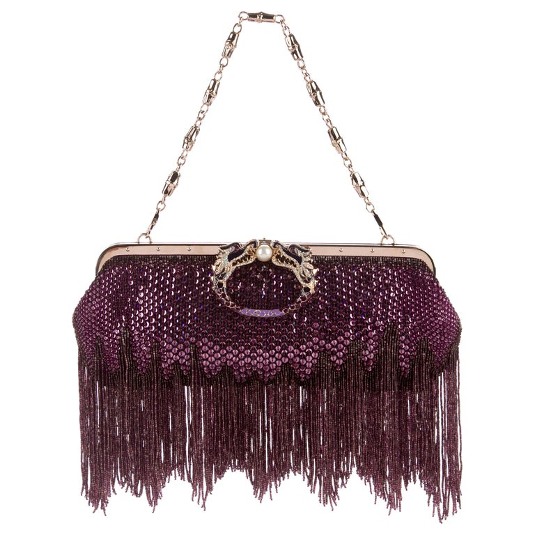 443e364069b Gucci by Tom Ford Limited Edition Purple Sequin Fringe Dragon Clutch Bag SS  2004 For Sale