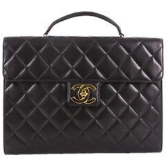 Chanel Vintage CC Briefcase Quilted Lambskin Large