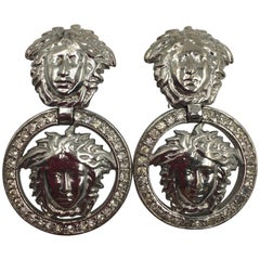 Gianni Versace Silver Tone Medusa Clip On Drop Earrings