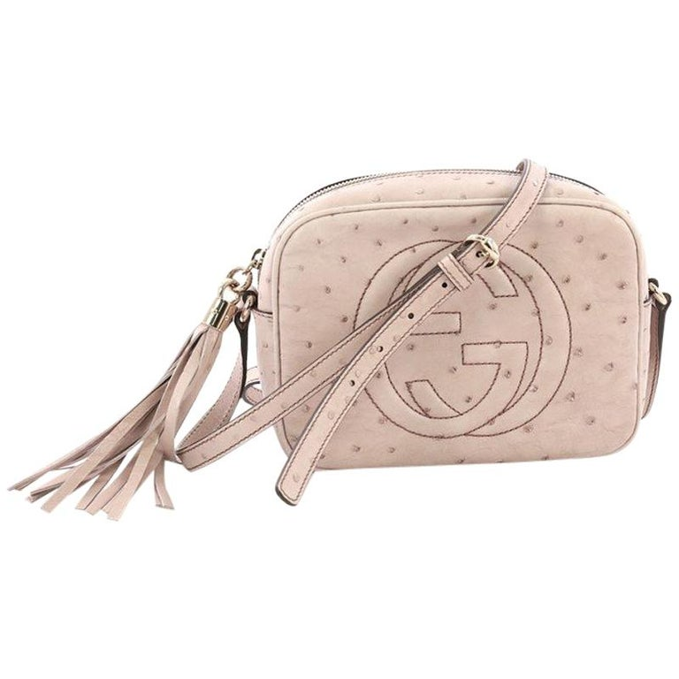 5eda0edcfc8 Gucci Soho Disco Crossbody Bag Ostrich Small For Sale at 1stdibs