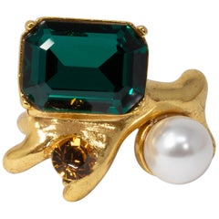Oscar de la Renta Bold Green, Amber Crystal and Pearl Cocktail Ring