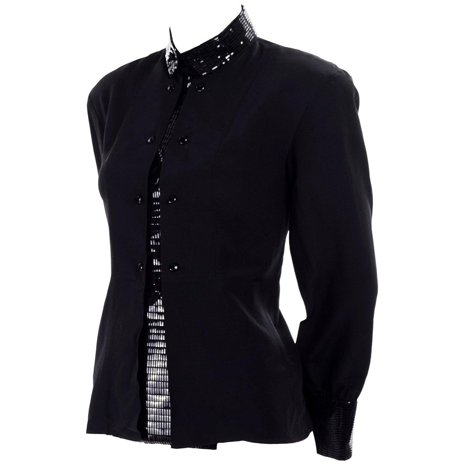 Bernard Perris Paris Black Silk Blouse With Beaded Embellished Faux Dickie