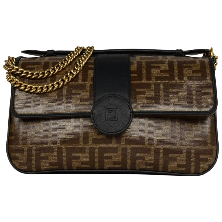 Fendi 2018 Black Brown Leather   Canvas FF Monogram Crossbody Bag rt  2,590  For Sale 063526f3fa