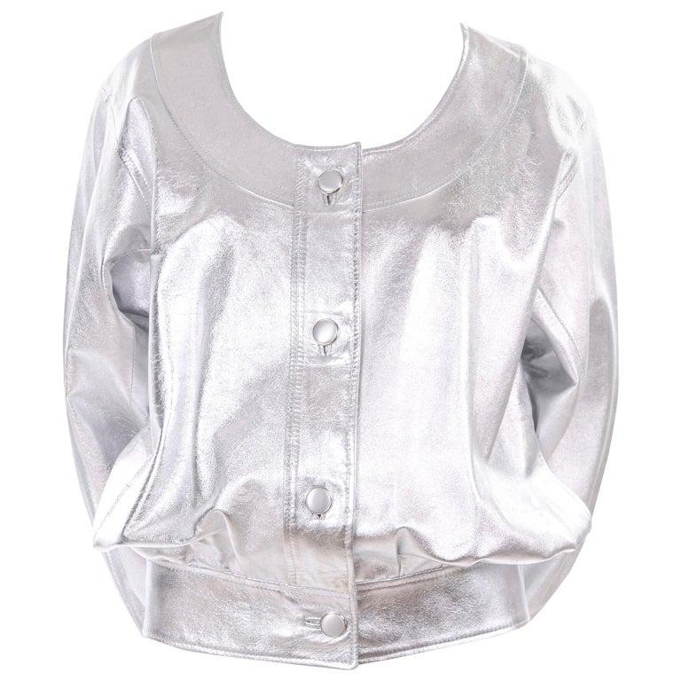 Yves Saint Laurent Silver Leather YSL Vintage Jacket For Sale