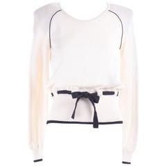 Vintage Valentino Ivory White Cotton Sweater With Black Sash Belt