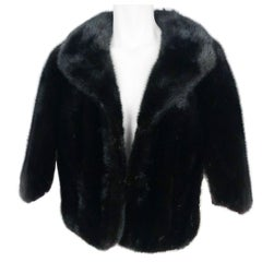 1950s Black Mink Stole With Enlarged Collar