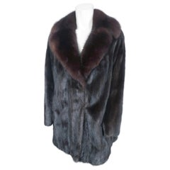 1960s Brown Mink Jacket With Sable Collar