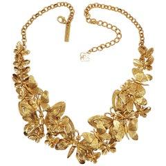Oscar de la Renta Gold Bold Butterfly Cluster Statement Necklace