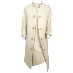 1950s Beige Silk Dress with Matching Swing Coat