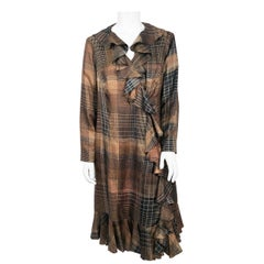 1960s Brown and Black Plaid Silk Coat with Ruffled Collar and Hem