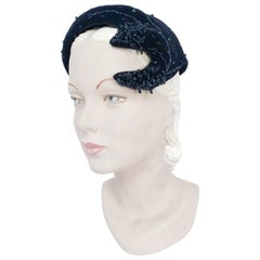 1950s Navy Beaded Cocktail Hat