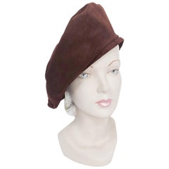 Saks Fifth Ave Brown Suede Beret