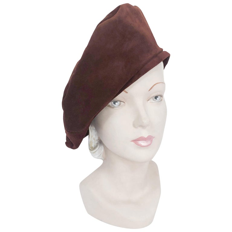 Saks Fifth Ave Brown Suede Beret For Sale