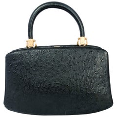 1960s Rosenfeld Black Embossed Leather Top Handle Purse