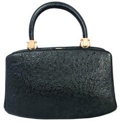 1960s Rosenfeld Black Embossed Leather Top Handle Purse
