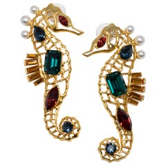 Oscar de la Renta Jeweled Seahorse Earrings in Gold, Green Reed and Blue Crystal