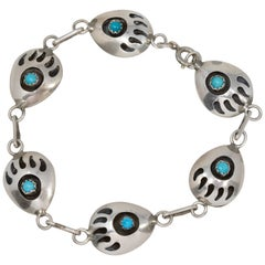 Native American Bear Claw Sterling Silver and Turquoise Link Bracelet