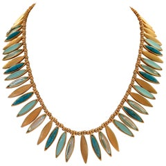"""21st Century Gold """"Feather"""" Choker Style Necklace By, Ellen Tracey"""