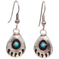 Native American Bear Claw Sterling Silver and Turquoise Dangling Earrings