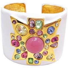 KJL Kenneth Jay Lane Jeweled Maltese Cross, White Enamel Hinged Cuff Bracelet