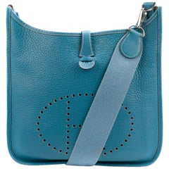 Hermes Evelyne Bleu Clemence Leather