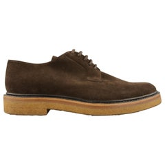 DRIES VAN NOTEN Size 7 Brown Solid Suede Crepe Sole Lace Up
