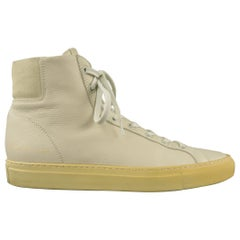 COMMON PROJECTS Size 7 Ivory Solid Leather High Top Sneakers