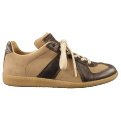 MAISON MARTIN MARGIELA Size 7 'REPLICA' Brown Canvas Lace Up Sneakers
