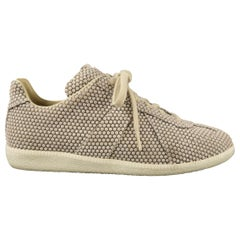 MAISON MARTIN MARGIELA Size 8 Taupe Dots Canvas Lace Up Sneakers