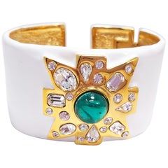 KJL Kenneth Jay Lane Crystal Maltese Cross, White Enamel Hinged Cuff Bracelet
