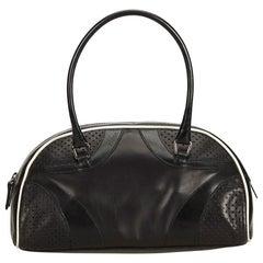 Prada Black Leather Vitello Drive Perforated Bowling Bag